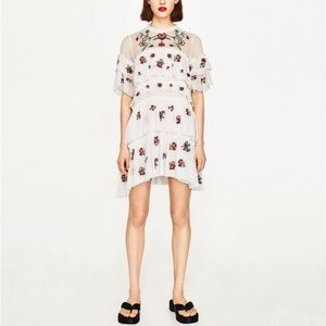 NWT Zara Woman Embroidered White Frill Mini Dress